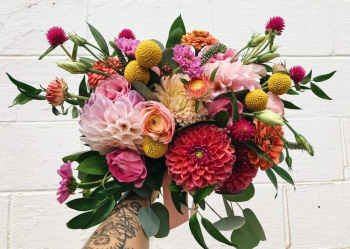 a very colorful bouquet